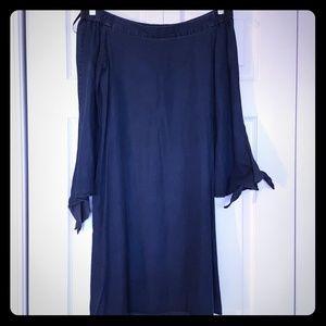 Tibi off the shoulder dress, deep indigo, size 6